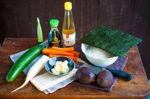 zeleninové sushi ingrediencie