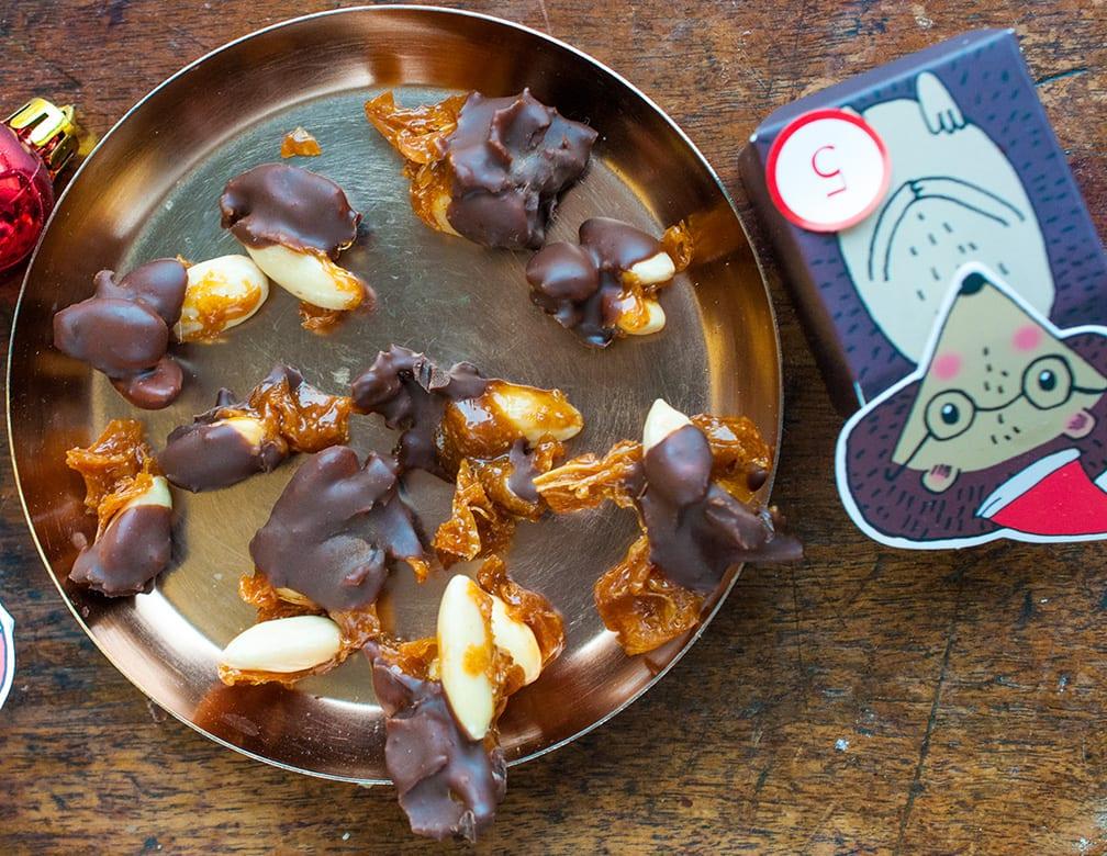 mandle v karameli a v čokoláde