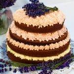 brownies torta s malinovým krémom
