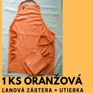Oranžová ľanová zástera a utierka