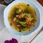šampiňónová polievka s brokolicou