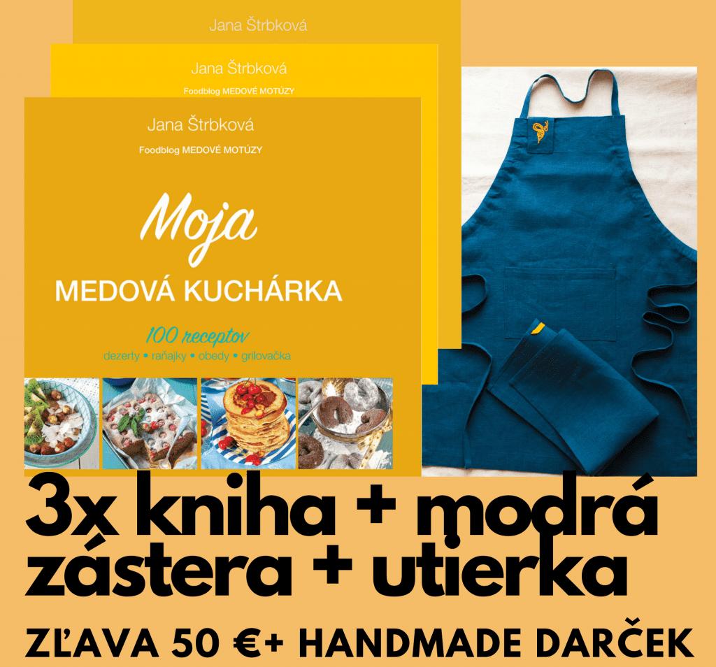 Jana Štrbková: Moja medová kuchárka +ľanový set zástera a utierka